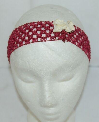 Unbranded Girl Infant Toddler Headband Removable Hair Bow Garnet Cream