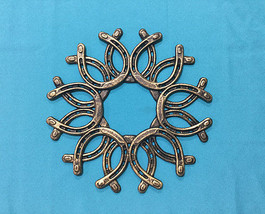 Large Cast Iron Gold Colores Horseshoe Wreath Western Decor - $29.69