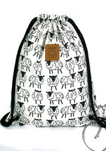 Lamb drawstring backpack Cotton Backpack Hip bag Laptop bag Handmade bag - ₹1,078.92 INR