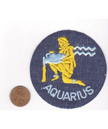 Vtg AQUARIUS Patch-Denim-Blue-Fish Water-Circle-Hippy - $9.48