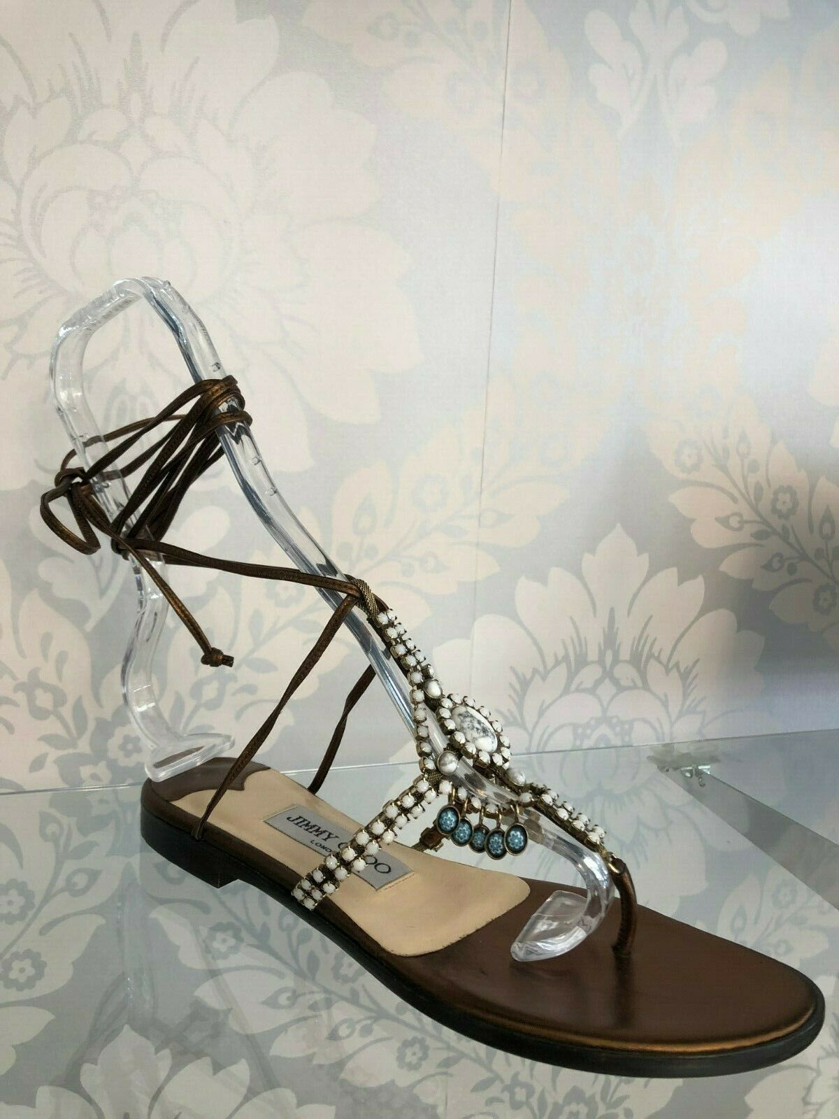 JIMMY CHOO Bronze Leather Strappy Sandals w/ Beaded Front Sz 35.5/US 5.5 $525