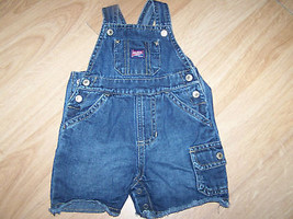 Infant Size 3-6 Months Old Navy Denim Blue Jean Shortalls Overalls EUC - $14.00