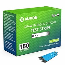 AUVON Blood Glucose Test Strips 150 Count for use with AUVON DS-W Diabetes Sugar