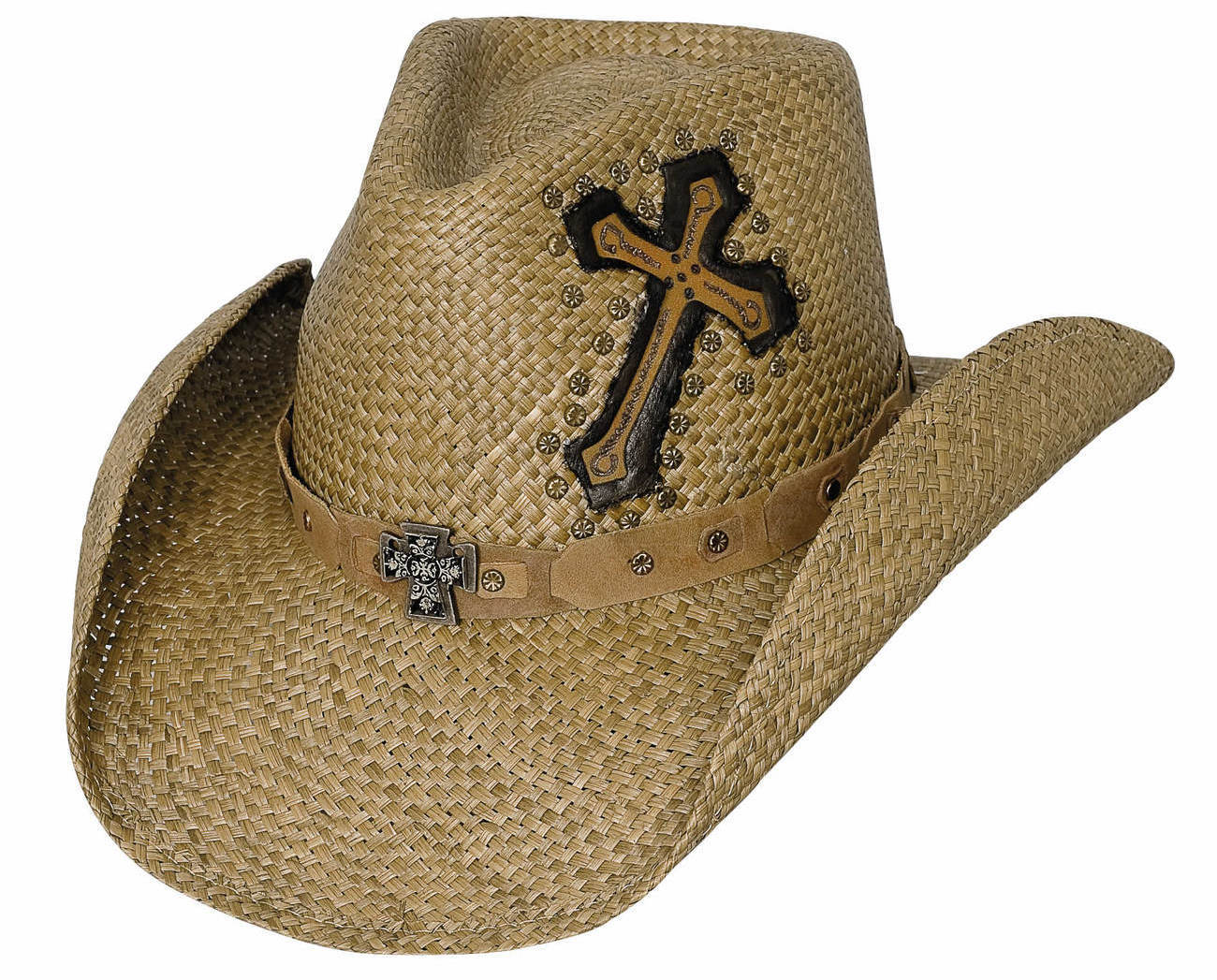 Bullhide Living On A Prayer Panama Straw Cowgirl Hat Pinchfront Crown Pecan - Hats