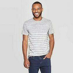 Men's Striped Standard Fit Novelty Crew Neck T-Shirt - Goodfellow & Co Gray S
