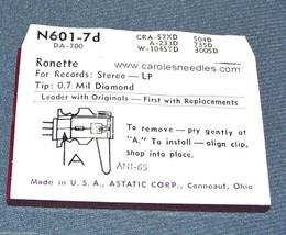 Astatic N601-7d NEEDLE for RONETTE Stereo OV T-105 106 T-MTG TO-208 291 293 image 2