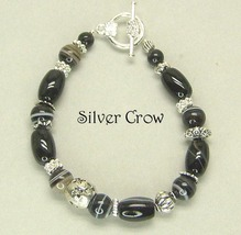Black Sardonyx Gemstone Bright Silver Bracelet - $19.99