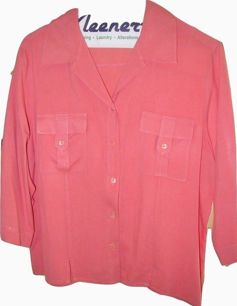 Womens Blouse Shirt Soft Cotton Rayon Coral Pink Medium NICE!