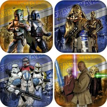 Star Wars Generations 3D Square Dessert Plates 8 Ct Birthday Party Suppl... - $7.42