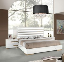 VIG Nova Domus Juliet White Rosegold Lacquer King Bedroom Set 3Ps Made In Italy