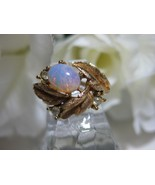 Avon FIREFLOWER Faux Opal Ring 1972 Size 6-7 - $10.00