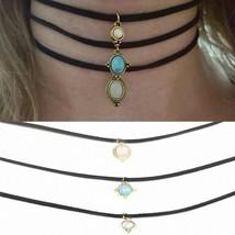 3 Pcs Sets Round Opal Stone Chokers Necklaces Pendants Maxi Necklaces Fo... - $5.19