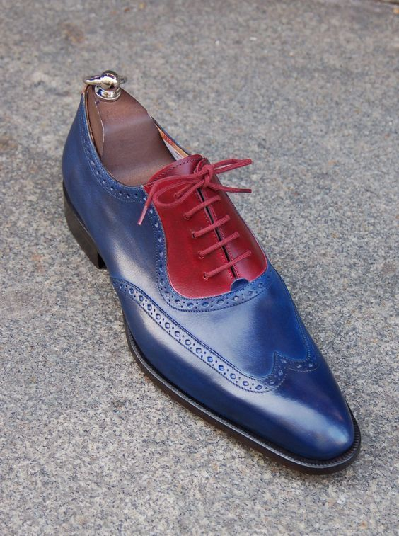 Handmade Men's Blue And Red Leather Wing Tip Oxford Shoes