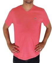 Lacoste Men's Premium Pima Cotton Casual V-Neck Shirt T-Shirt Dahlia Pink image 1