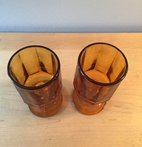 Amber/gold goblets set of 2 made by Colony/Indiana Glass in the Nouveau pattern image 2