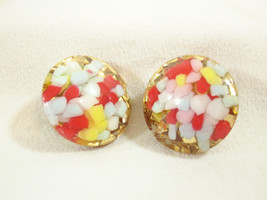 CONFETTI Red Yellow Gold MULTI Domed Clip on Earrings Vintage Estate Career - $14.84