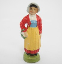 German Putz Woman in Native Switzerland Costume 178/55 Composition Figur... - $12.86