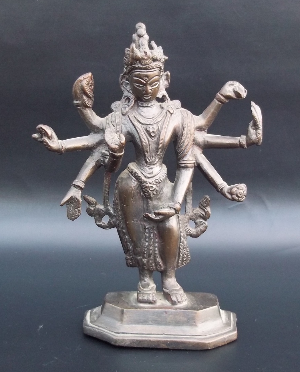 Vintage India Brass Hindu Lord Shiva Statue. Purchased In India 1960.