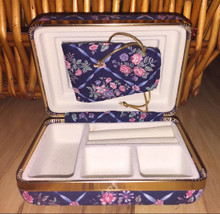 Vintage Collectible Jewelry Box Case Blue Floral 4.5x3.5 - €35,11 EUR