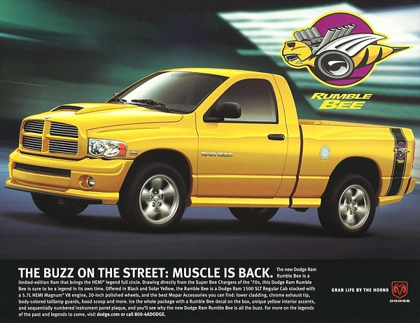 Primary image for 2004 Dodge RAM 1500 RUMBLE BEE/HEMI SPORT brochure sheet 04