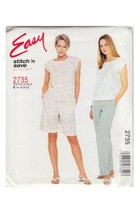 McCALL'S 2000 PATTERN 2735 SIZE 16/18/20/22 MISSES' TOP PANTS SHORTS UNCUT - $3.90
