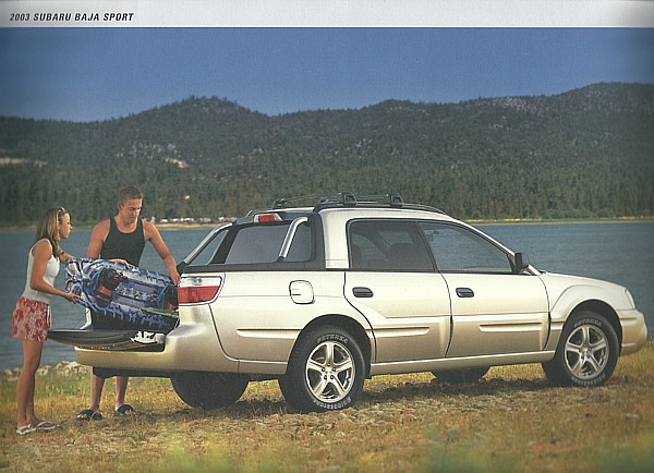 2003 subaru baja sport sales brochure catalog sheet 03. Black Bedroom Furniture Sets. Home Design Ideas