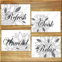 Gray White Bathroom Wall Art Print Picture Dahlia Floral Modern Relax So... - $13.99