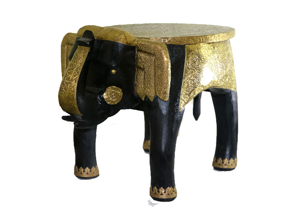 Wooden Handicraft Brass Work Large Stool Elephant Home Decor 15""