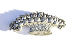 Signed Vintage Sterling Silver Woven Basket with Roses and Fruit Brooch - $53.95