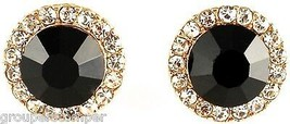 Post Earrings New Black Onyx 10mm Wide Simulated Stone with Crystal Rhin... - $13.89