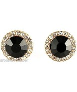 Post Earrings New Black Onyx 10mm Wide Simulated Stone with Crystal Rhin... - $15.31