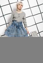 80s vintage frill denim skirt - $40.17