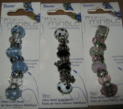 Metal Lined Glass Bead Lots Blk White Dog Blue Pink 27 Lg Hole Spacer Mi... - $9.40