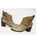 GUESS MORELLI Ankle Boots Harness Western Taupe Studs Side Zip Women's 9... - $39.92