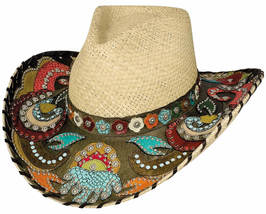 Bullhide Gypsy Queen Panama Straw Cowgirl Hat Colored Leather Overlays Natural  - £95.00 GBP