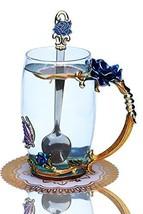 Warelegant Clear Blue Butterfly Enamel Tea Cup with Handle Handmade Coff... - $22.53