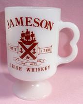 Maroon Jameson Whiskey Gare Saint St Lazare Ship Crest Milk Glass Coffee... - £17.99 GBP