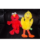 2002 Gund Sesame Street Elmo & Big Bird Stuffed Toys - $21.99