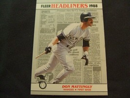 1988 Fleer HEADLINERS #1 Don Mattingly -New York Yankees- - $3.12