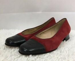 Salvatore Ferragamo Black CapToe Red Suede Leather Slip On Women's Shoes Size 6 - $51.16