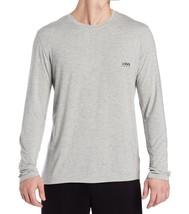 Hugo Boss Men's Fashion Long Sleeve Modal Crew Neck Light Grey T-SHIRT Tee - $32.97