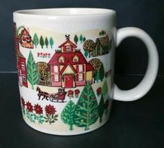 Otagiri Horse Sled Winter Town Coffee Mug Cup Gibson Holiday Poinsettias - $19.79