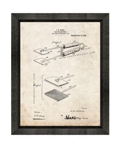 Hair-straightener Patent Print Old Look with Beveled Wood Frame - $24.95+