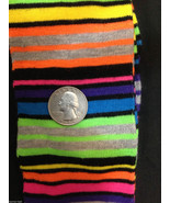 Black Bright RAINBOW STRIPES KNEE HIGHS SOCKS-Rockabilly Soccer Volleyba... - $5.91