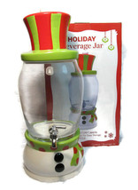 Holiday Snowman Beverage Jar Ceramic Glass by Real Home 1.7 Gal Liter NE... - $59.39