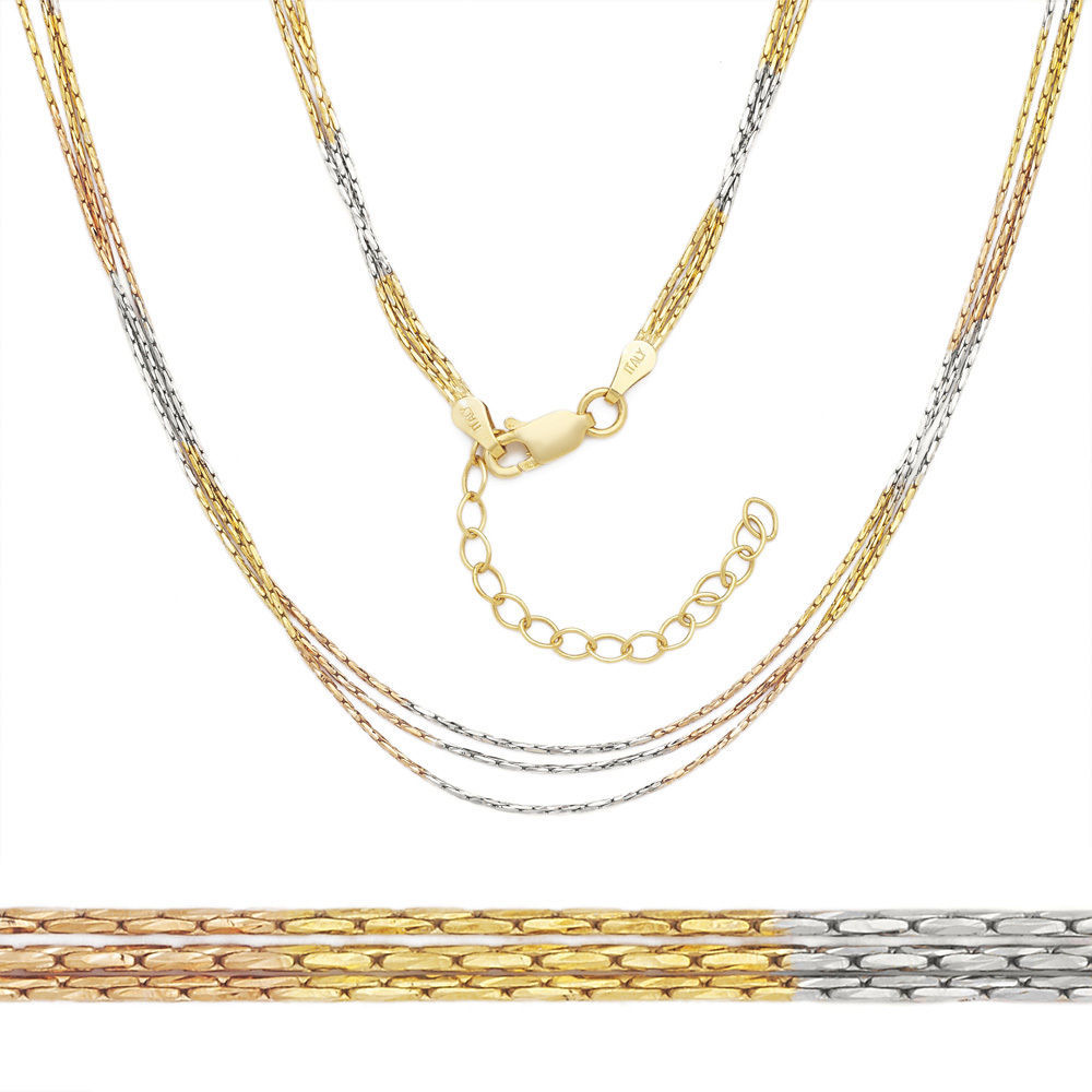 14k Yellow Rose Gold Sterling Silver Boston Cardano Link Multi Chain Necklace14k