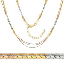 14k Yellow Rose Gold Sterling Silver Boston Cardano Link Multi Chain Necklace14k - $42.61