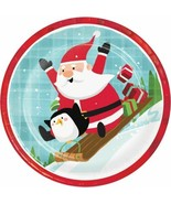 """Santa and Penguins Paper 8 Ct 9"""" Lunch Plates - $5.44"""