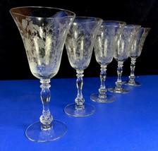 Set of 5 Duncan Miller 8 oz Etched INDIAN TREE Water Goblets Elegant Ste... - $47.02