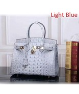 35 cm Crocodile Embossed Italian Leather Lock and Key Satchel Celebrity ... - $179.95